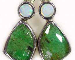 15.50 cts CRYSTAL OPAL AND EMERALD EARRINGS-FACTORY DIRECT  [SOJ5966]