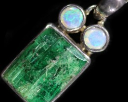 25.90 cts CRYSTAL OPAL AND EMERALD PENDANT-FACTIRY DIRECT[SOJ59]