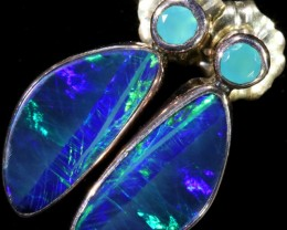 11.00 CTS OPAL DOUBLET AND PARABIA CHALCENDONY EARRING [SOJ5993]
