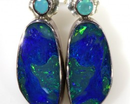18.15 CTS OPAL DOUBLET AND PARABIA CHALCENDONY EARRING [SOJ5994]
