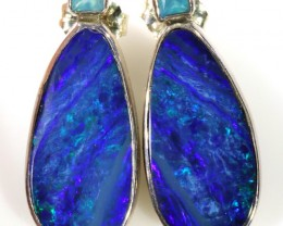23.65 CTS OPAL DOUBLET AND PARABIA CHALCENDONY EARRING [SOJ5995]