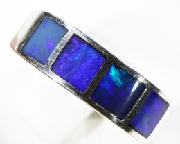 Gem Opal Inlay Set in Silver Ring size 7 CF1532