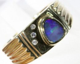 Gem Opal Doublet Set in  G/P Silver Ring CF1533