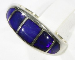 Gem Opal Inlay crystal Set in Silver Ring size 6  CF1535