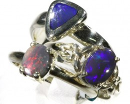 Three solid Opals Set in Silver Ring CF1536