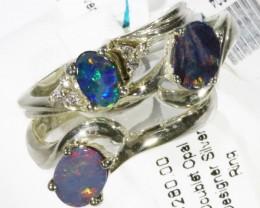 3 xGem Opal Doublet Set in Silver Ring CF1538