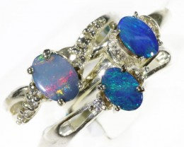 Three Opal Doublet Set in Silver Ring CF1539