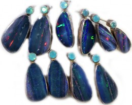 75.05 CTS OPAL DOUBLET AND PARABIA CHALCENDONY EARRING PARCEL [SOJ6001]