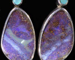 CTS SOLID BOULDER OPAL EARRINGS AND PARAIBA CHALCEDONY [SOJ6011]