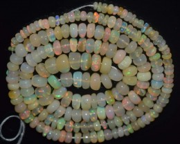 37.85 Ct Natural Ethiopian Welo Opal Beads Play Of Color