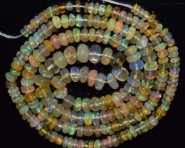 34.15 Ct Natural Ethiopian Welo Opal Beads Play Of Color