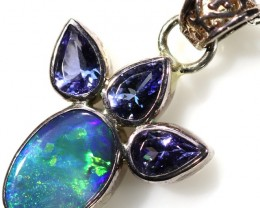 29.00 CTS SILVER  BLACK OPAL WITH TANZANITE PENDANT FREE CHAIN [SOJ6029]
