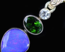 22.95 CTS DOUBLET OPAL WITH CHROME DIOPSIDE SILVER  PENDANT [SOJ6031]