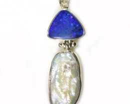 34.95 CTS DOUBLET + BIWA PEARL PENDANT -FACTORY DIRECT [SOJ6039]