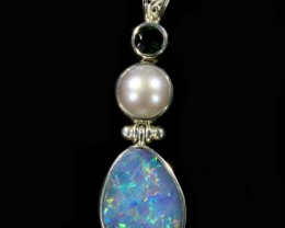 17.95 CTS DOUBLET AND PEARL PENDANT -FACTORY DIRECT [SOJ6045]