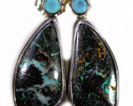 30.65 CTS BOULDER OPAL WITH CHALCEDONY EARRINGS [SOJ6067]