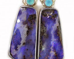 37.15 CTS BOULDER OPAL WITH CHALCEDONY EARRINGS [SOJ6068]