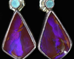 28.25 CTS BOULDER OPAL WITH CHALCEDONY EARRINGS [SOJ6069]8