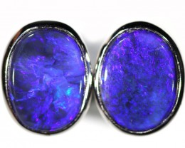 17.20 cts SOLID BLACK OPAL EARRINGS -SILVER [SOJ6079]