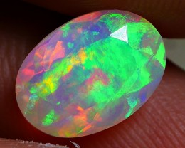 1.60 CRT GORGEOUS FACETED 3D BROADFLASH PATTERN FIRE COLOR WELO OPAL