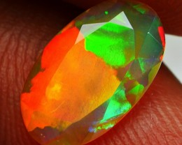 1.00 CRT BROWN CRYSTAL BLOCK RED NEON BROADFLASH PATTERN WELO OPAL
