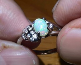14.20 ct Stunning 925 Silver Bright Multi Color Welo Ring