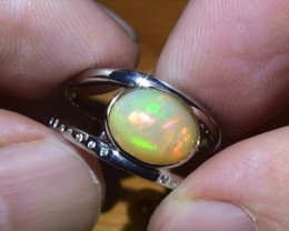 19.50 ct Stunning 925 Silver Bright Multi Color Welo Ring