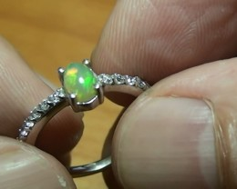 8.55 ct Stunning 925 Silver Bright Multi Color Welo Ring