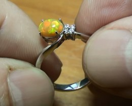 10.90 ct Stunning 925 Silver Bright Multi Color Welo Ring
