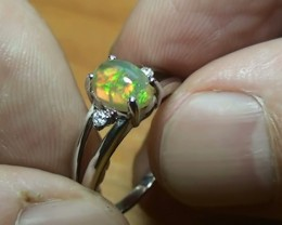 11.85 ct Stunning 925 Silver Bright Multi Color Welo Ring