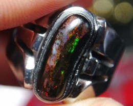 40.05 Ct Polished Indonesian Wood Fossil Opal With Unique Ring
