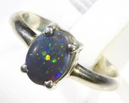 Solid Black Opal set in silver CF 1663