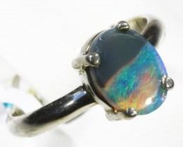 Solid Black Opal set in silver CF 1666
