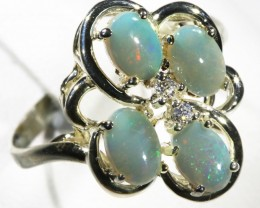 Unique Solid Crystal Opal set in silver ring size 6.5  CF 1670