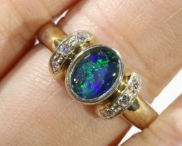 Triplet Opal set in silver ring Size 7  CF 1668