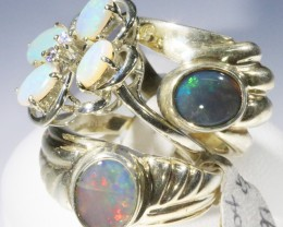 Three Cute Solid Opal Rings CF1679