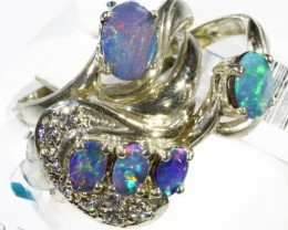 Three Cute Doublet Opal Rings CF1680