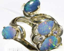 Three Cute doublet Opal Rings CF1681