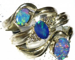 Three Cute Doublet Opal Silver Rings CF1685