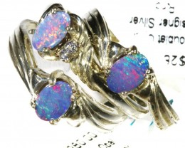 Three Cute Bright Doublet Opal Rings size 6 CF1687