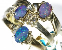 Three Cute Doublet Opal Rings size 7 CF1688
