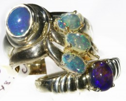 Three Cute Solid Natural  Opal Rings CF1689