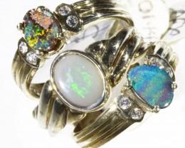 Three Cute unique Opal Rings CF1692