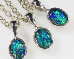 Three Cute Opal   Triplet set in Silver Pendant CF1701