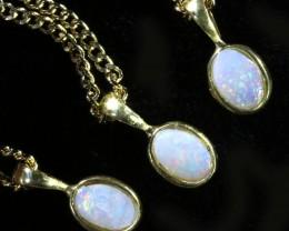 Three Cute Opal Solid  Crystal set in G/P Pendant CF1698