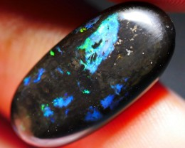 5.05 CRT BRIGHT BLUE BASE METTALIC COLOR WOOD FOSSIL INDONESIAN OPAL