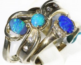 Three Cute Opal   Doublet set in Silver Rings SIZE 7  CF1701