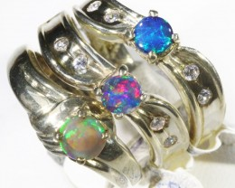 Three Cute Solid Opal and  Doublet set in Silver Rings CF1702