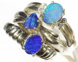 Three Cute Opal   Doublet set in Silver Rings CF1703