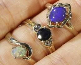 Three Cute Opal  n Aussie Sapphire  Solid set in Silver Rings CF1704